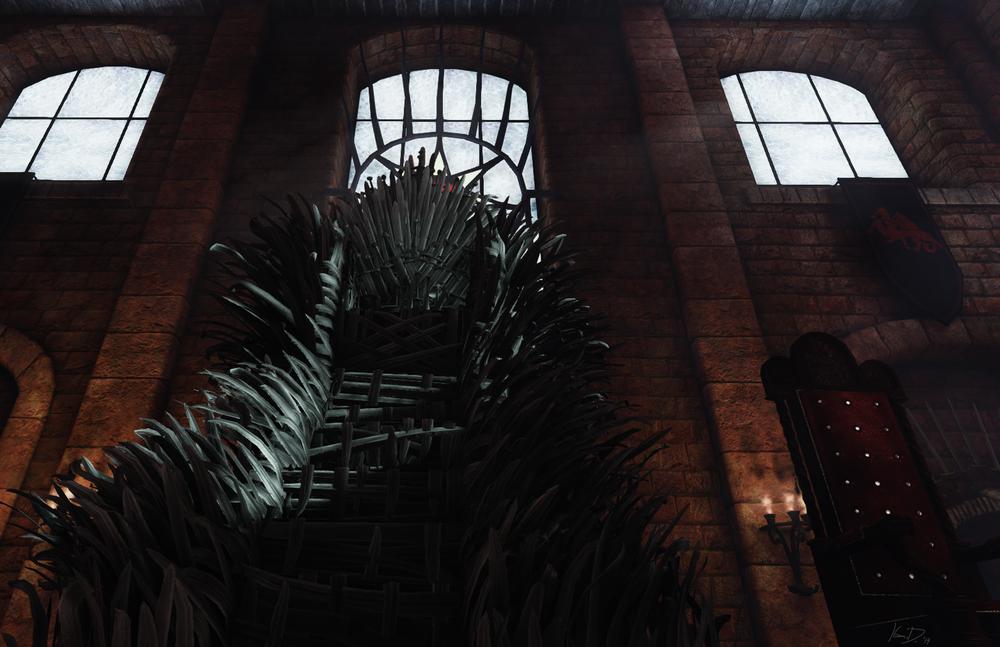 Iron throne room udk kamil durzynski 3d artist for Iron throne painting