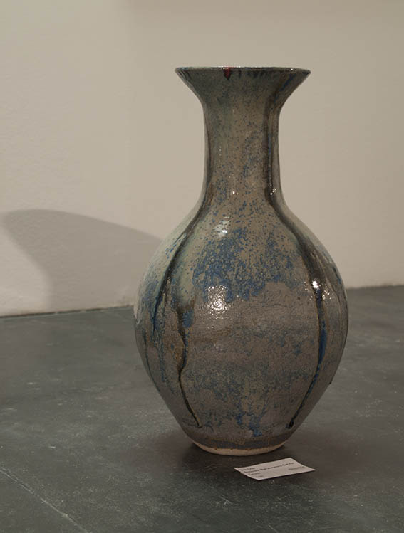 bottleneck blue stoneware coil pot