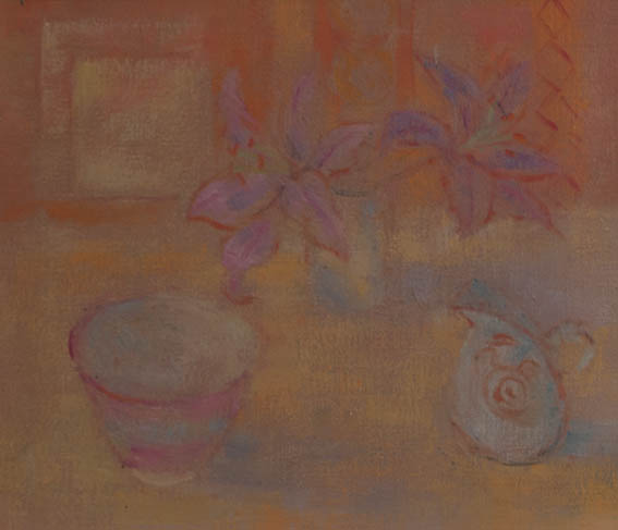 lillies and pink bowl