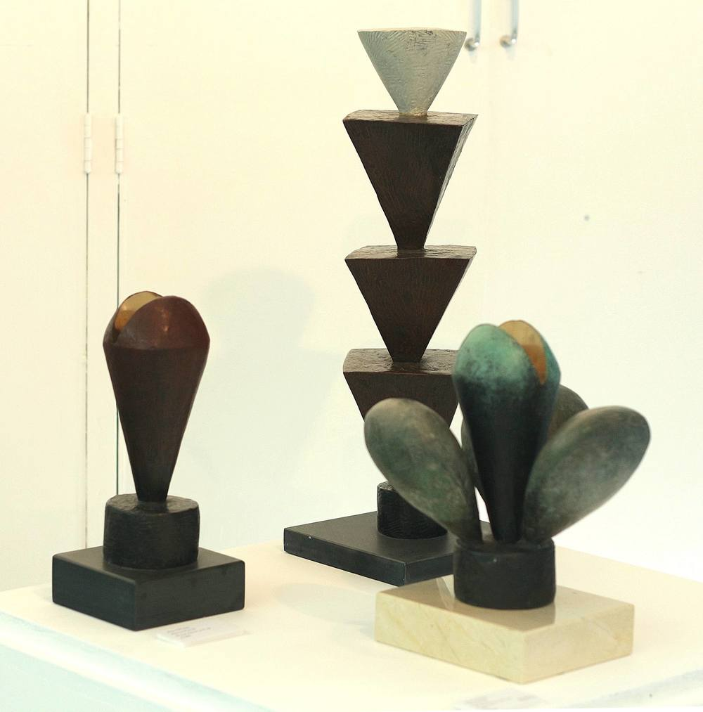 Left to right:  Abstract Plant III  Bronze. Edition of 9, 1/9  £5,500     Plant  Bronze. Edition of 5, 1/5  2006  £9,500     Exotic Plant  Bronze. Edition of 5, 1/5  2010  £9,000