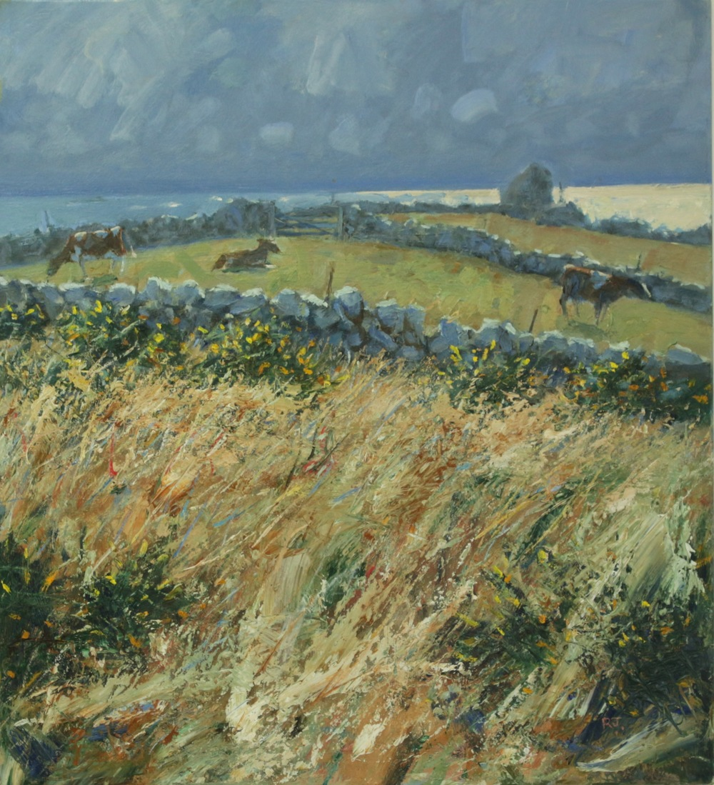 17. gorse, sea and cows, troy town, st. agnes, isles of scilly