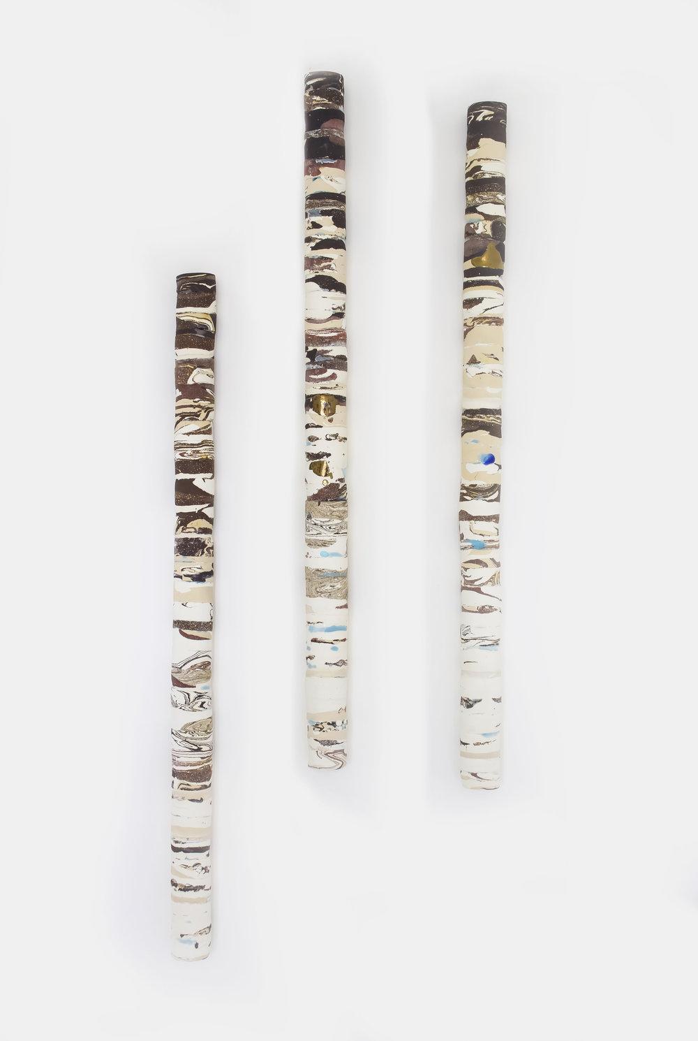 Jenny Beavan  Inner Cores - wall hung -  7 clays -gold glaze  -1m.jpg