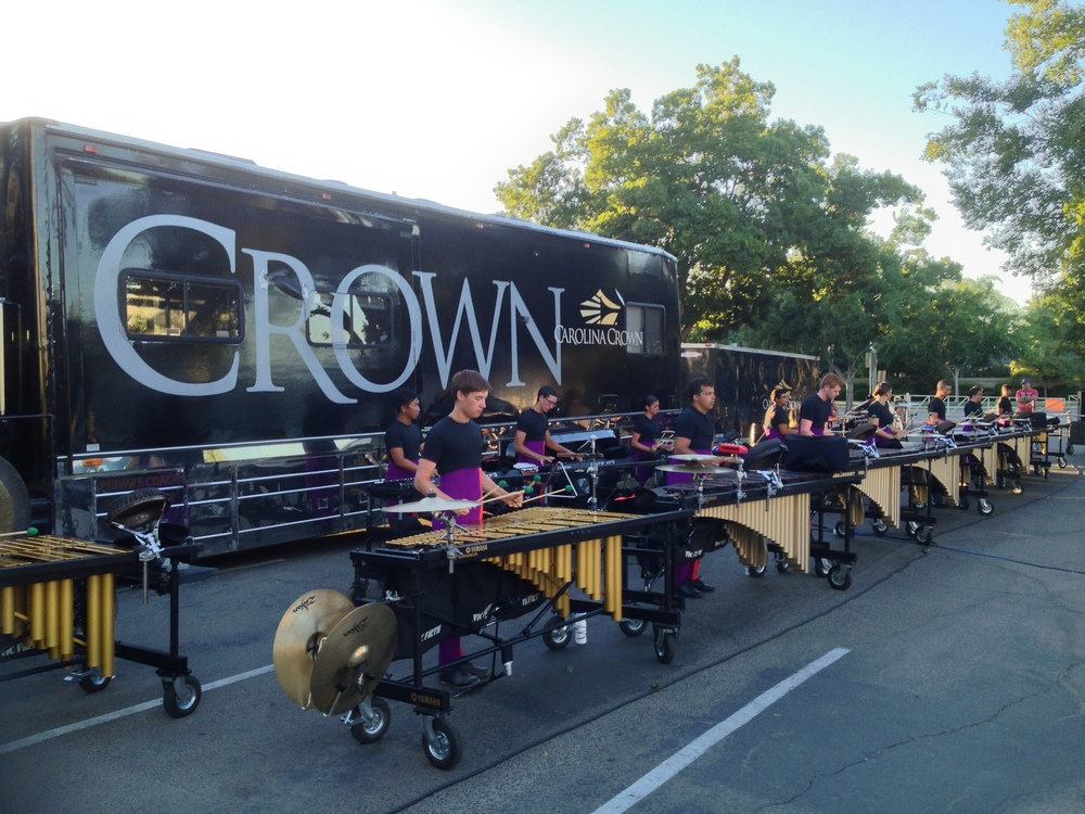 Carolina Crown 2013 Front Ensemble warming up in Clovis, CA