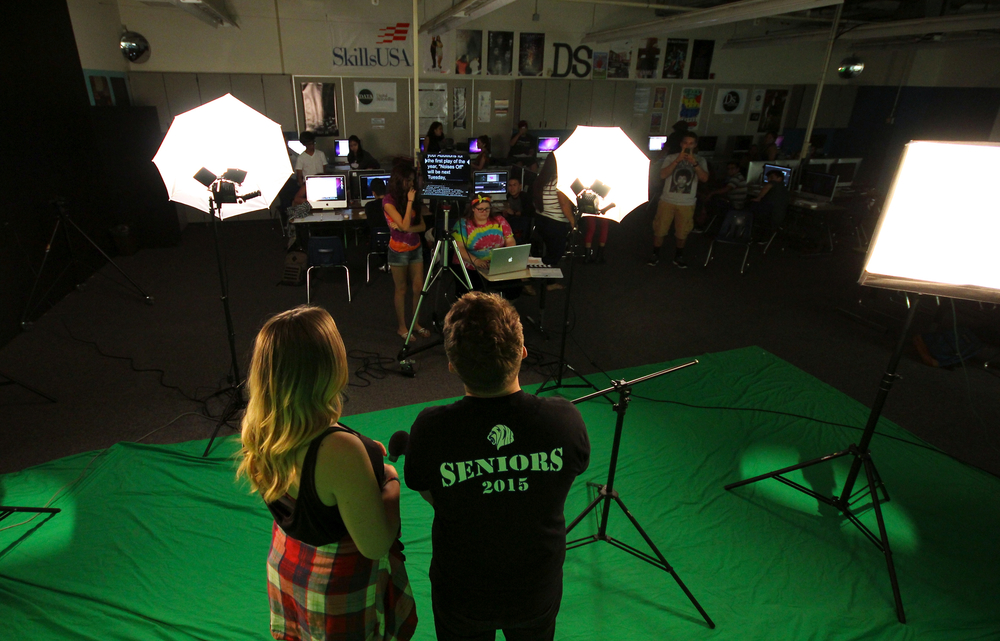 Jason Bullen (12) and Morgan Holecek (11) run through a script rehearsal for the first episode of Behind the Blue season 2.