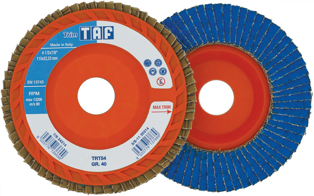 TRIMTAFZIRCO-CERAMICTRIMMABLE FLAP DISCS - New trimmable flap disc with proprietary premium zirco-ceramic cloth.