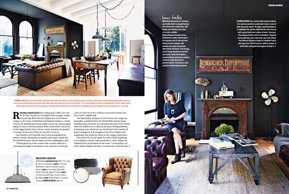 Inside OUT March 2014 Page 2   Vintage House Daylesford Kali Cavanagh