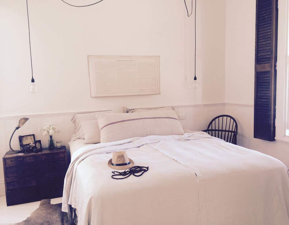 *Image of the white room at Vintage House Daylesford - styling and interiors by Kali Cavanagh