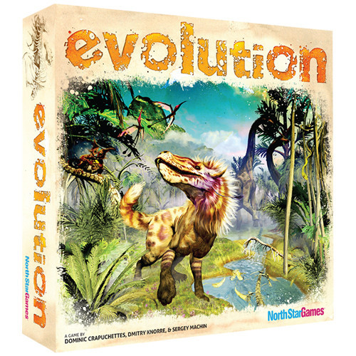 In Evolution, players create and adapt their own species in a dynamic ecosystem with hungry predators and limited resources.  Traits like Hard Shell and Horns will protect you from Carnivores, while a Long Neck will help you get food that others cannot reach. With over 4000 different species to create, every game becomes a different adventure. So gather your friends around the table and see who will best adapt their species to eat, multiply and thrive!