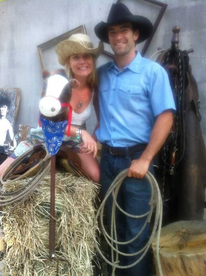 "And we created a photobooth with items we found around the ranch. Here's my ""portrait"" with the head rancher himself."
