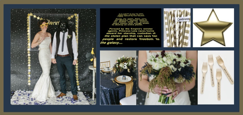 Star Wars Inspiration Board   Credit: Green Wedding Shoes (left photo and bottom-middle)
