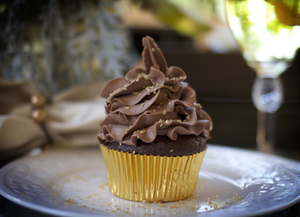 Chocolate cupcake with homemade dark chocolate frosting. YUM.  A featured RTTO party add-on.