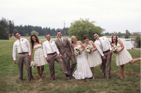 Patterned bridesmaid dresses work particularly well with weddings that have neutral-toned palates.
