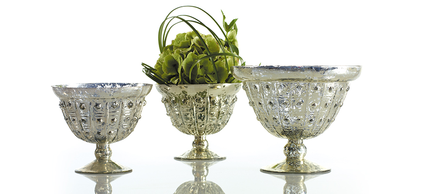 Mercury glass compote bowls by Accent Decor