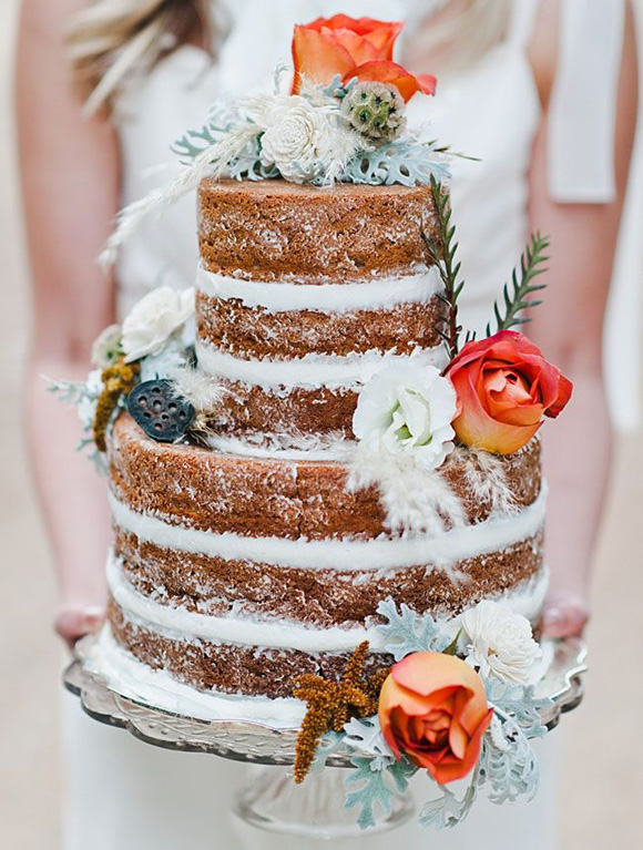 "A ""Naked Cake"" found on GreenWeddingShoes.com"
