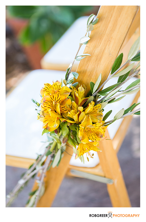 chair floral yellow with olive branch