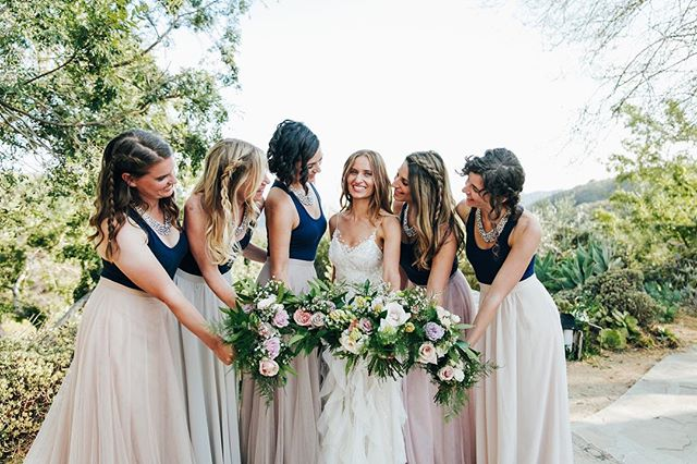 Bridesmaids in blush and blue separates. What's not to love? #bridesmaid #bridesmaidideas #malibuweddingplanner