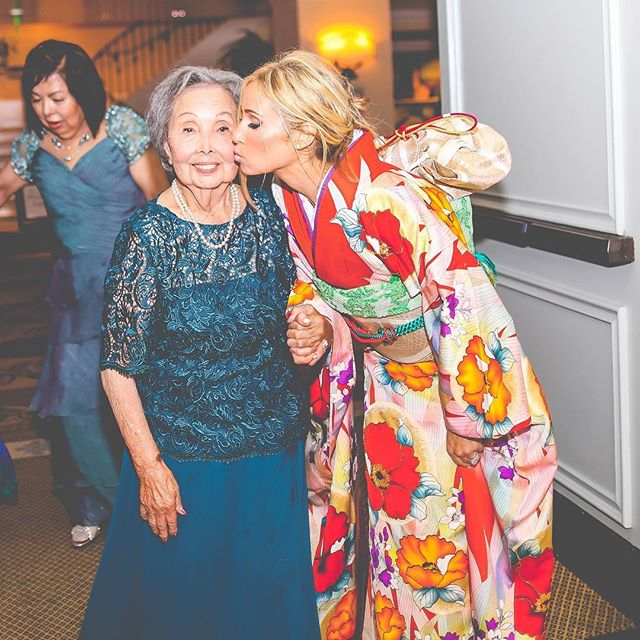 The bride changed into an authentic kimono to honor and surprise her new grandmother-in-law. #preciousmoment #kimono #traditions #newyorktimes #newyorktimesbride