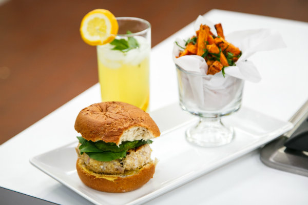 Quinoa Turkey Burger, Parmesan Crusted Sweet Potato Fries, and  Lemon Apple Spritzer... Fast Food Made Healthy
