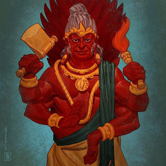 More art from Mythic Arcana - Agni: God of Fire. Pencil colored in Photoshop. #mythicarcana #mythology #godoffire  #agni #drawing #sketching #illustration #fantasy #characterdesign #tabletopgames #cardgame #tauleadergames #comicbookart #conceptart #characterdesign