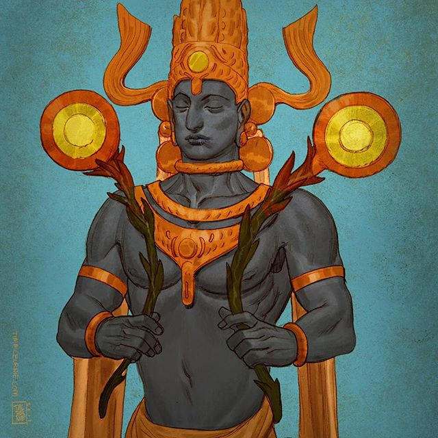 More art from Mythic Arcana - Surya: God of the Sun. Pencil colored in Photoshop. #mythicarcana #mythology #godofthesun  #surya #drawing #sketching #illustration #fantasy #characterdesign #tabletopgames #cardgame #tauleadergames #comicbookart #conceptart #characterdesign