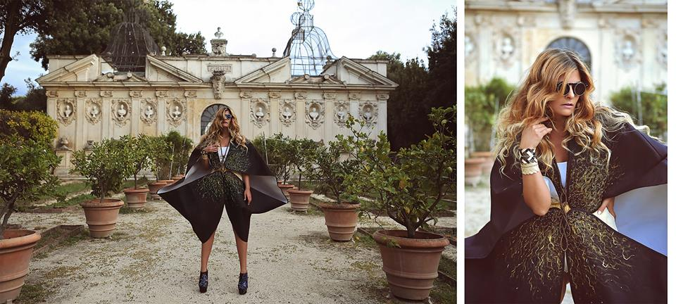 Beautiful and edgy cloths by the inspired Italian designer Giorgia Donia and an editorial shoot with Valentina Feula in the Villa Borghese Secret Gardens.  MUAH: Amanda Robinson. Assistant: Dana Verri.
