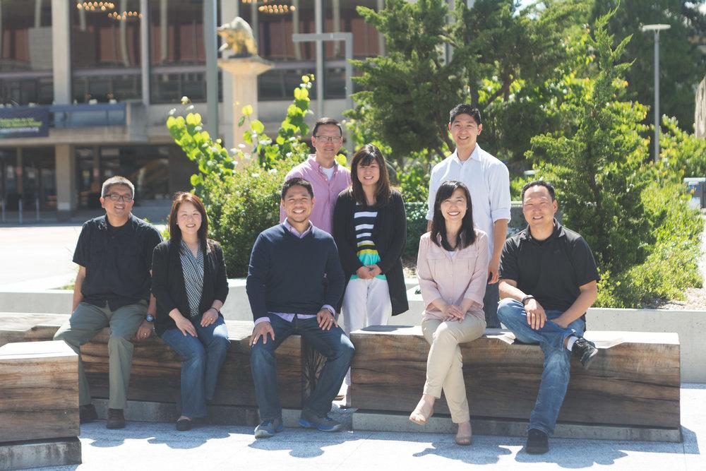 Top Row:  Rick Yi, Sue Yi, Kevan Ho  Bottom Row:  Daniel Kim, Sarah Kim, John Ko (SD), Suzanne Suh, Steve Suh *All Cal Alumni. Go Bears!