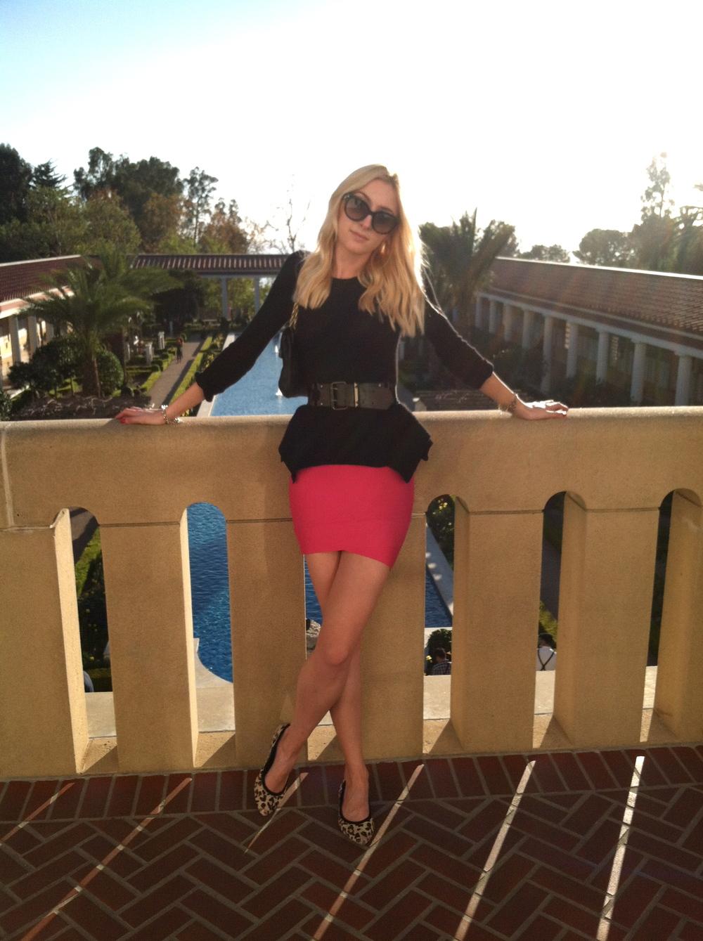 Peplum Sweater, Skirt, Belt, Flats, Handbag  BCBG  // Sunglasses  Prada