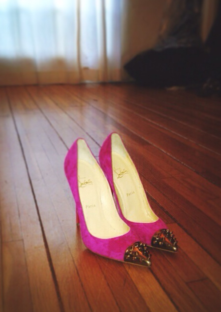 The breathtaking pink suede cap-toed  Louboutins  I'll be dreaming about all week