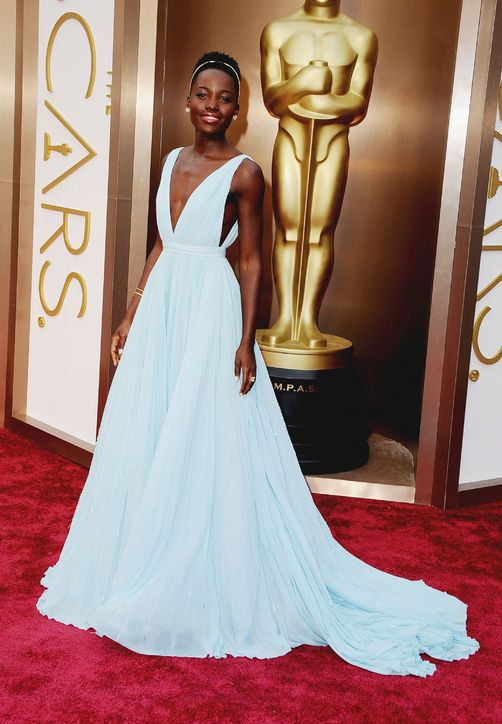 Queen of the night. Oscar winner Lupita Nyong'o looked stunning in this light as air Prada gown.