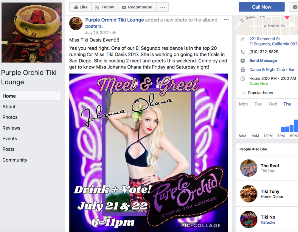 Facebook: Purple Orchid Tiki Lounge  Poster announcing an event I was hosting while running for Miss Tiki Oasis 2017 - Photo & editing by me