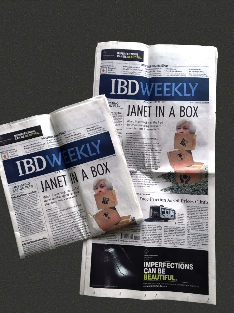 Investor's Business Weekly, May 23, 2016,  Janet In A Box,  Artwork by Chelsea Cody