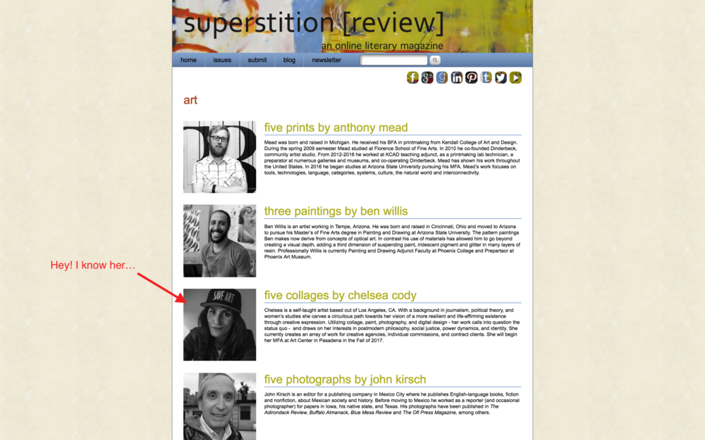 "Some of the lineup from ASU's ""Superstition Review"".  You can find more on  Facebook  &  Instagram . Support working artists!"