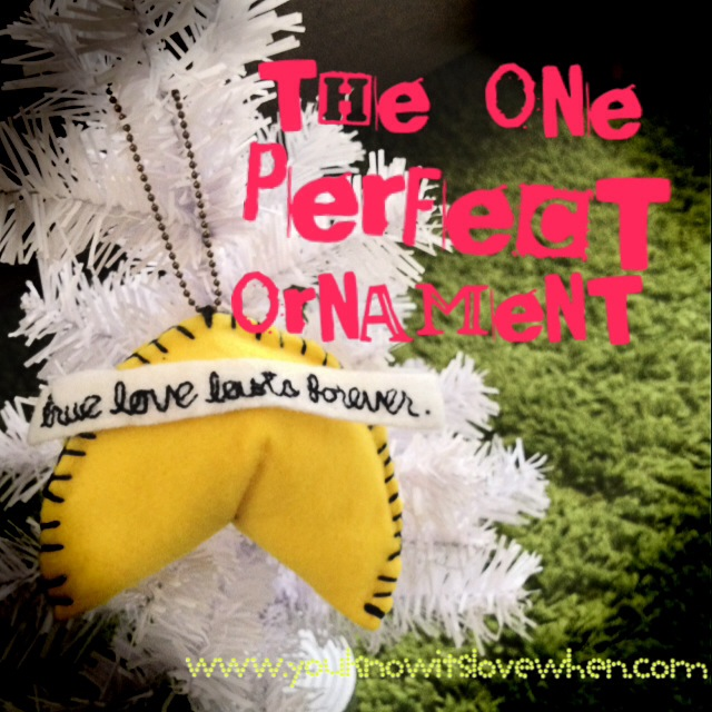 hand-sewn ornament with hand-stitched message