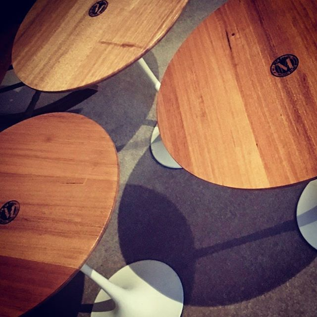 Some round tables for @revitalisecafe that went out recently, check em out next time you grab a coffee and one of their awesome scones. Beautiful vic ash with our branding in the center. ________________ #vicash #sidetable #madeinmelbourne #customfurniture