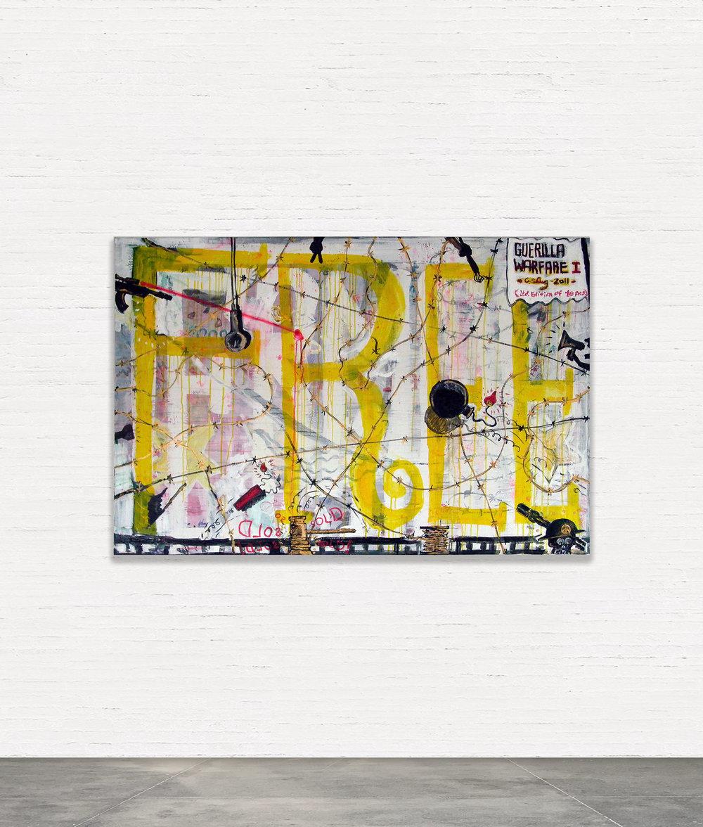 GUERILLA WARFARE I  (2011) Akryl på lærred 100 X 150 CM   SOLGT