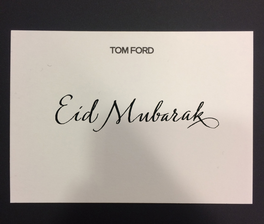 Personalised envelopes and cards for Tom Ford