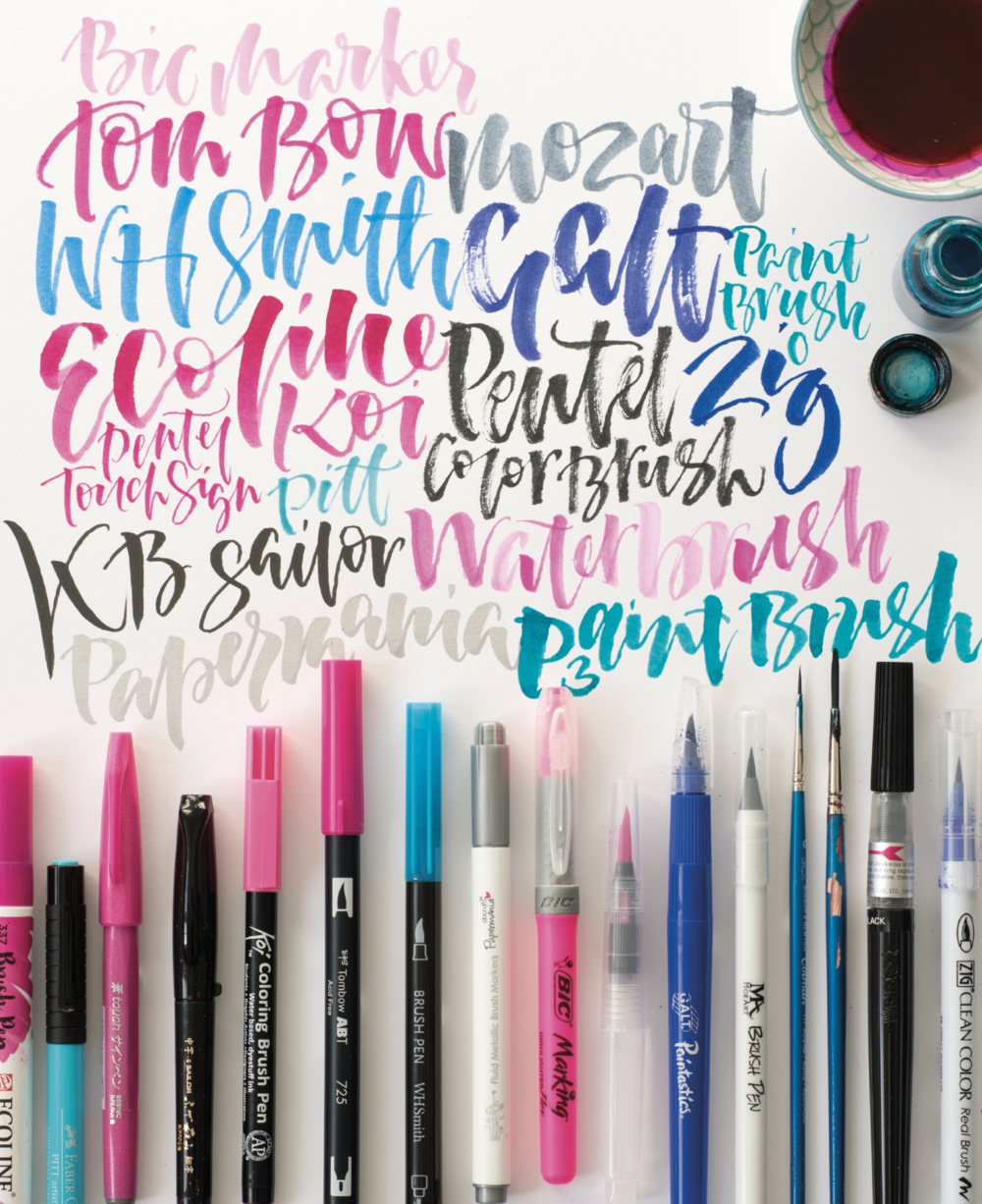 In this book we talk about some of the  brush lettering products  available, although this is constantly changing and growing as calligraphy becomes more and more popular. We show you different ways in which you can use them, whilst sharing secrets of lettering to give you the confidence to make your own brilliant brush calligraphy.
