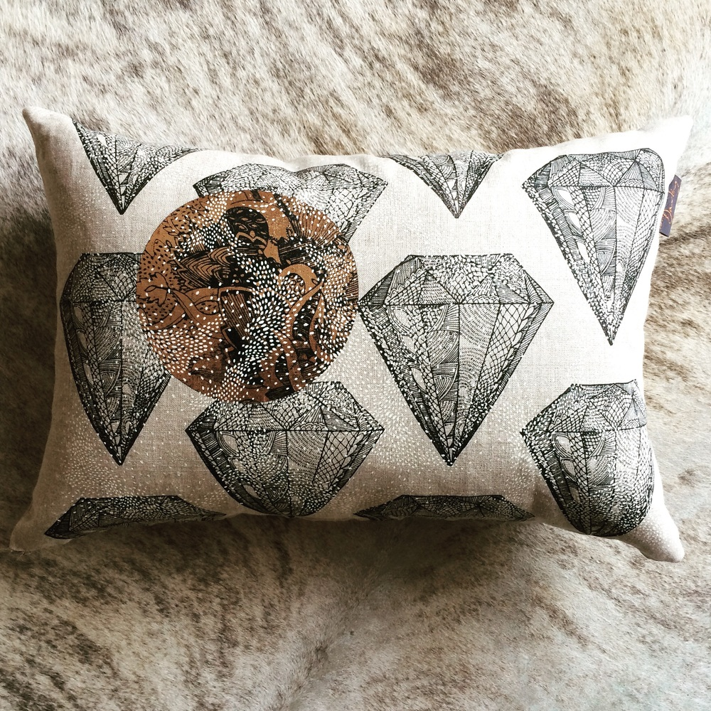 3 colour hand printed lined feather filled cushion