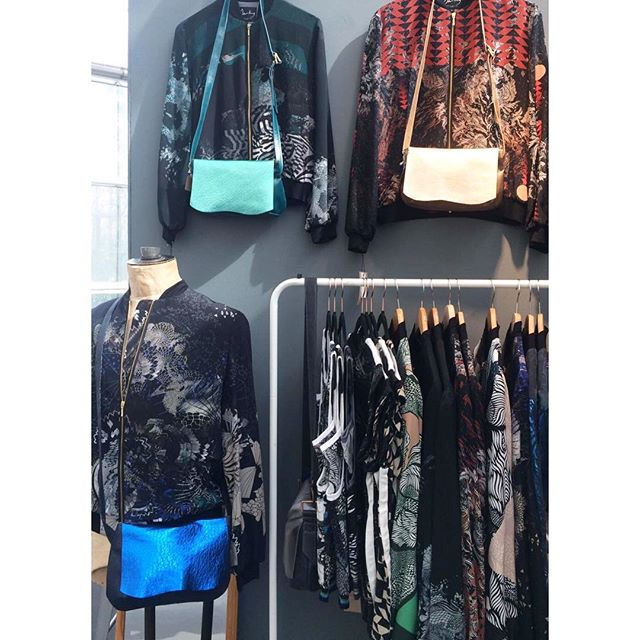Last day of the show today up at #eastwintergarden.  It's been gorgeous. @hollymleather Holly's been doing an ace job and her fab bags look so good with my jackets. You can see Marie too- swipe left @sorrelbay  Happy mamas day to all you gorgeous mamas out there.