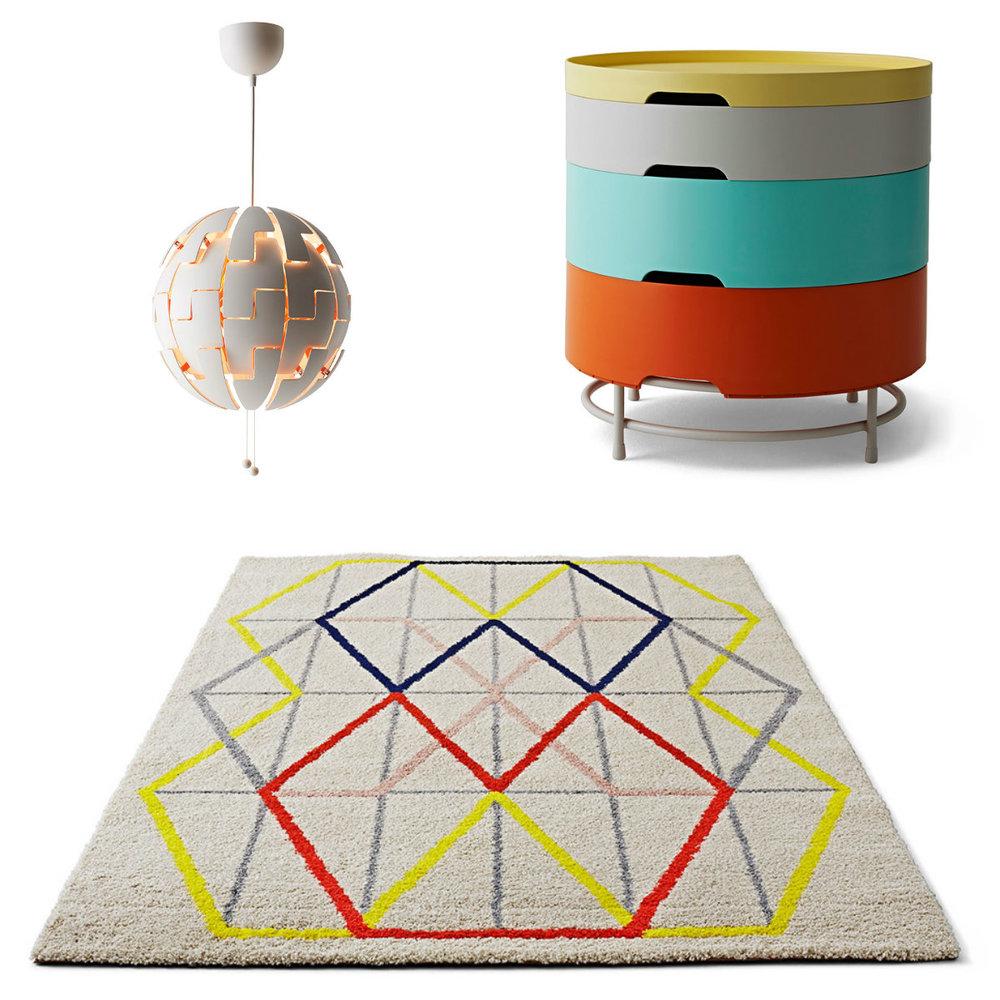 Závěsná lampa, design David Wahl; úložný stolek, design TRichardson/C Brill/A Williams; koberec, design Margrethe Odgaard