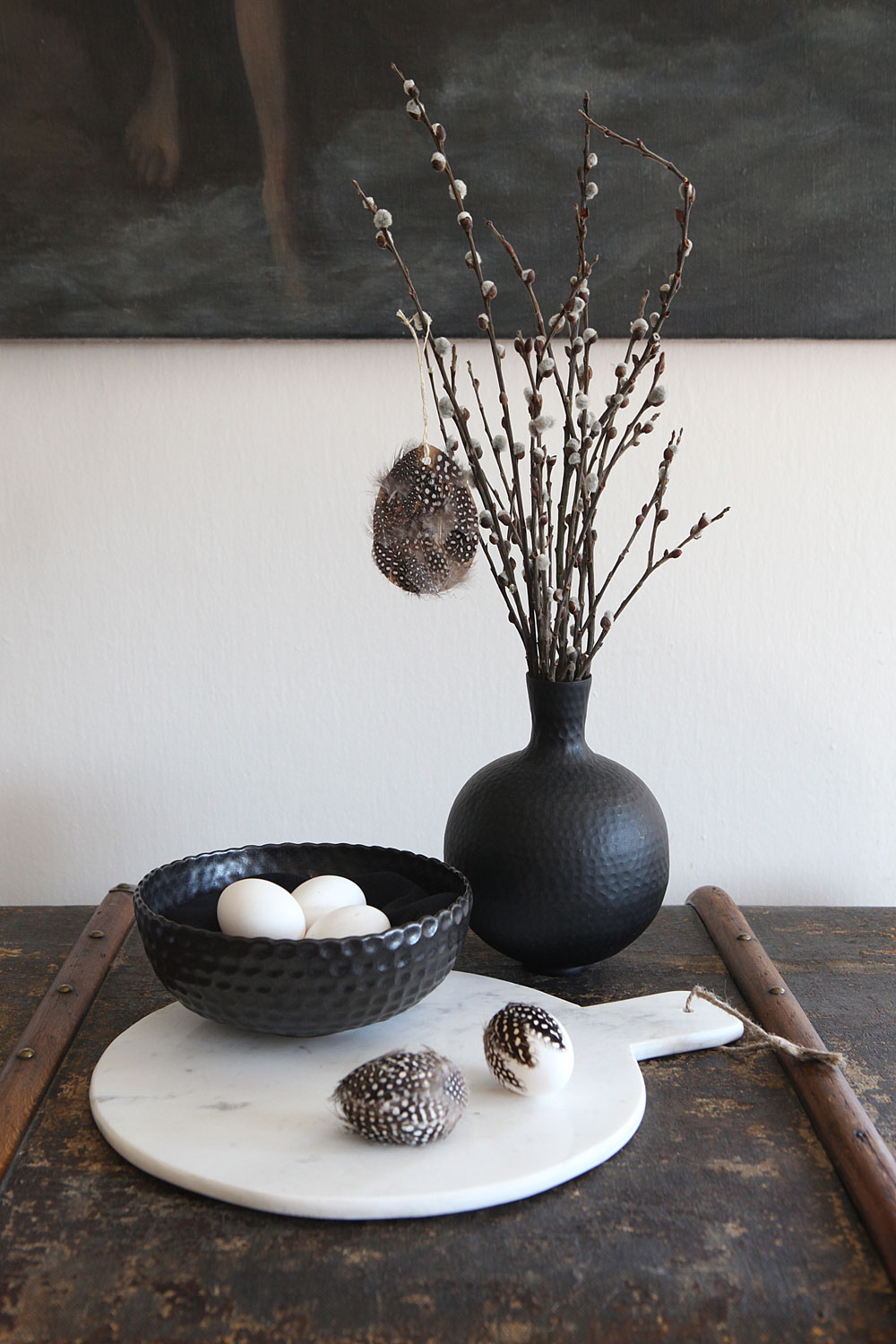 Marble board by Madam Stoltz, Nordic Day; black bowl Ema Mamisu; vase, Ikea