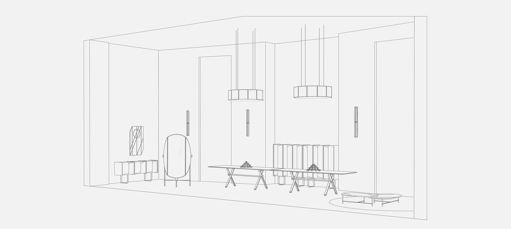 Milánská instalace značky Gallotti & Radice představuje skupinu úzce provázaných designových exponátů, které návštěvníka vtáhnou do fascinujícího, snového prostoru fantazie. K vidění bude i komoda Diedro, kterou Pietro Russo navrhl pro značku Gallotti & Radice v loňském roce, nebo zrcadlo Flabello od designérského dua Lanzavecchia + Wai.