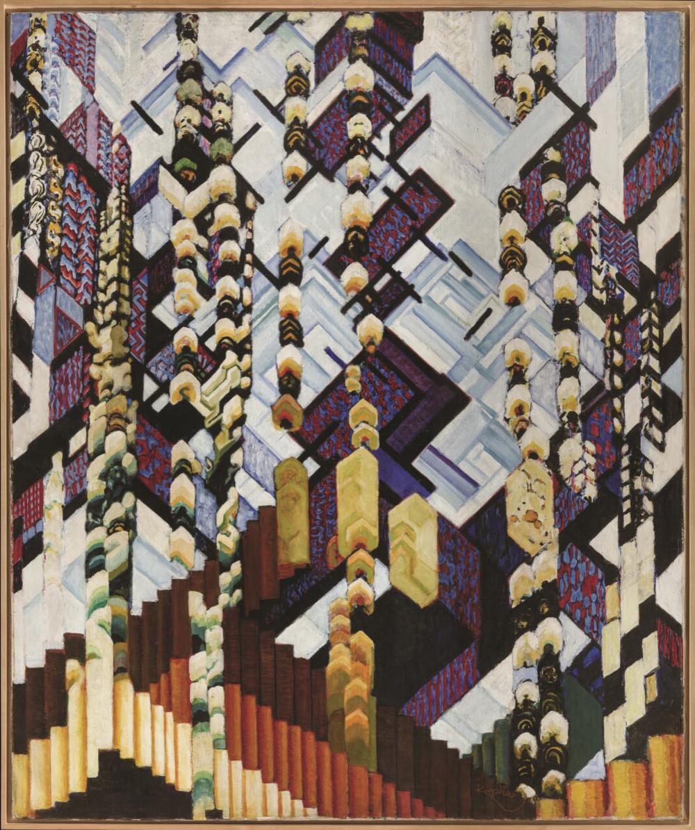 František Kupka,  Colour Planes (Winter Reminiscences),  1915–1923, National Gallery Prague; oil, canvas, 180 × 150 cm