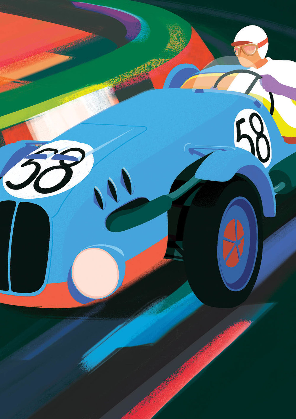 In June 1949, two Minor cars took part in the first post-war 24 Hours of Le Mans race. The model piloted by driver-duo Krattner and Sutnar was assigned the number 58, and acquired a blue stripe to indicate its Czech origins.