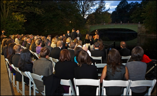 Prospect Park Boathouse Weddings ceremony from back