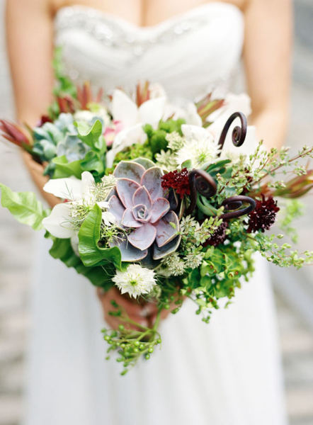 Wild floral Bridal bouquet by Blossom and Branch. Photo by Karen Wise.