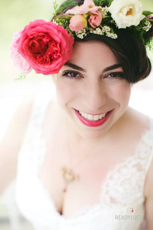 We loved Elana's colorful bridal floral crown by Poppies and Posies. Photo by Levi Stolove.