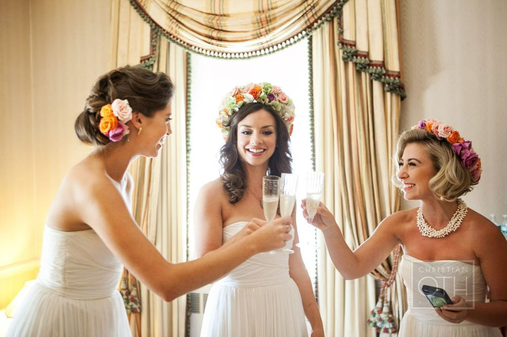 Bridesmaids Floral accessories by/ Photo by Christian Oth Studios/ Day of Coordination by Just About Married.