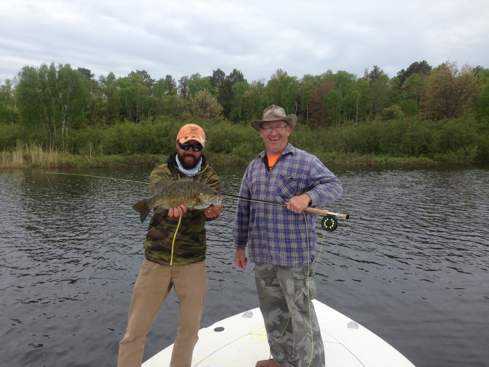 Jim had a solid day chasing smallies on the fly a clouser for Ashland wi fishing report