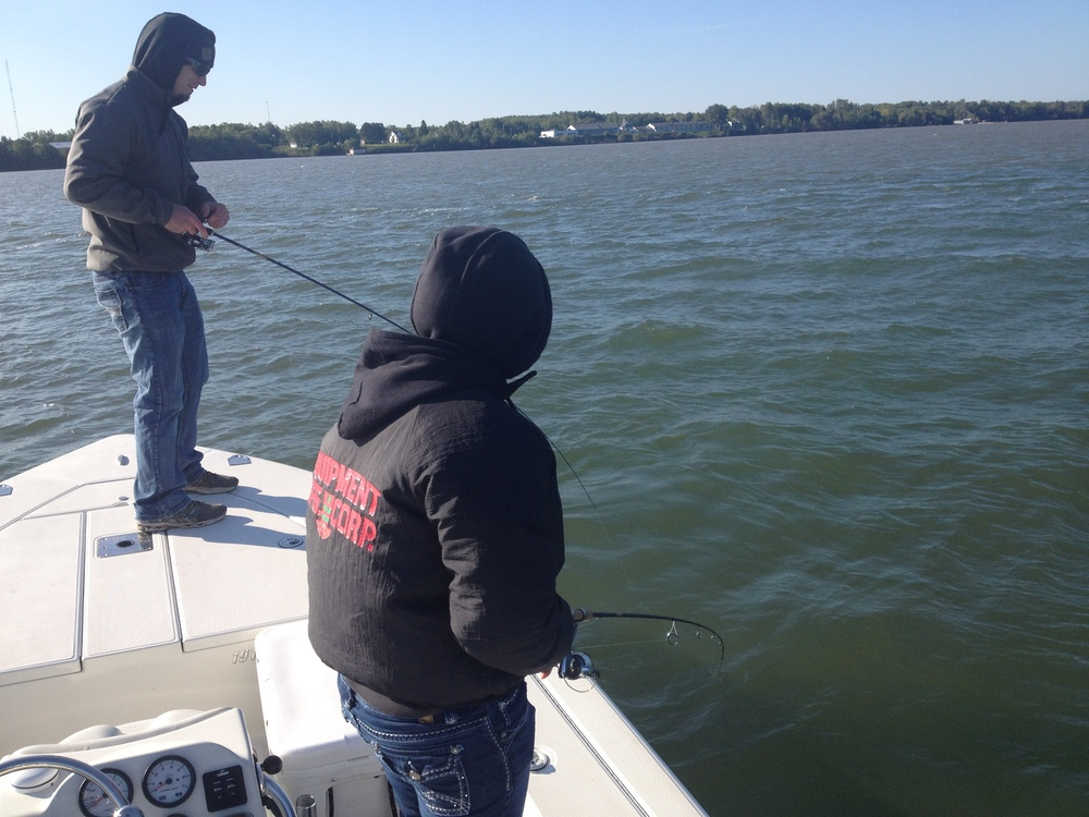 Fighting another double hook up for Ashland wi fishing report